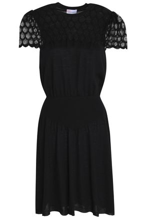 REDValentino Point d'esprit-paneled wool dress