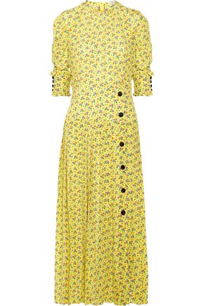 ALESSANDRA RICH Floral-print silk crepe de chine midi dress