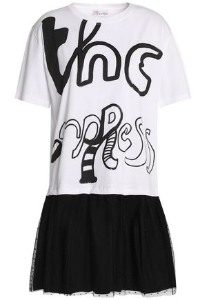 REDValentino Printed stretch-jersey and point d'esprit mini dress