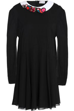 REDValentino Embroider-trimmed silk-blend voile mini dress