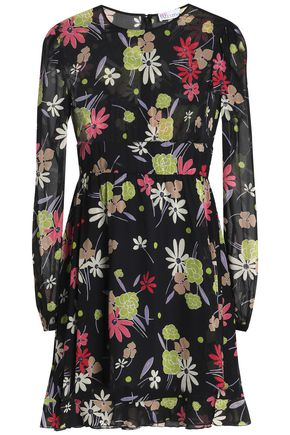 REDValentino Floral-print silk-blend voile mini dress
