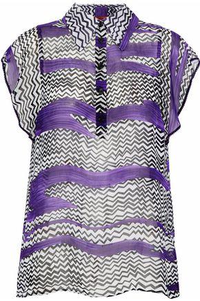 MISSONI Crochet-trimmed printed silk-gauze top