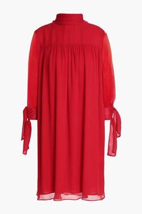 ALEXANDER MCQUEEN Gathered silk-georgette dress