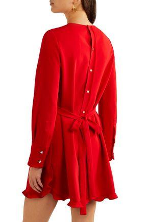 MIU MIU Ruffle-trimmed crepe mini dress