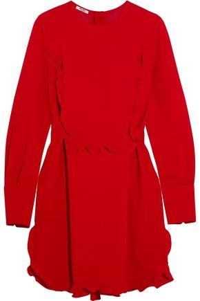 MIU MIU Ruffle-trimmed crepe mini dress 8dcf6f4d8f624