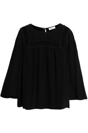 CLAUDIE PIERLOT Open knit-trimmed crepe top