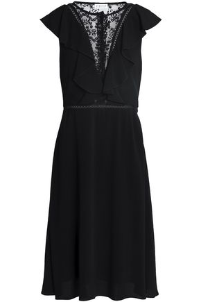 CLAUDIE PIERLOT Embroidered tulle-paneled ruffled crepe dress