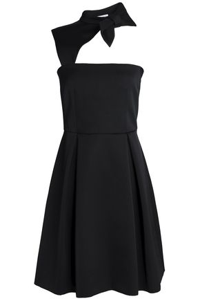 CLAUDIE PIERLOT One-shoulder bow-embellished satin-crepe mini dress