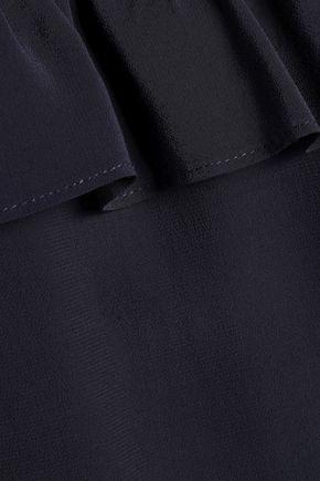 CLAUDIE PIERLOT Belted point d'esprit-paneled crepe mini dress