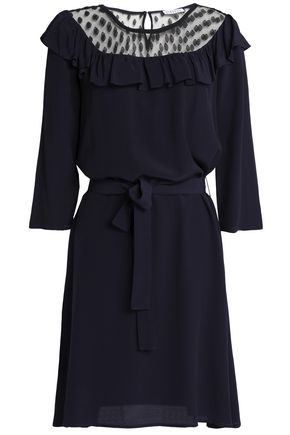 CLAUDIE PIERLOT Belted point d'esprit-paneled crepe mini dress