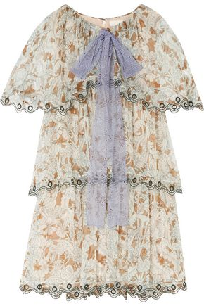 CHLOÉ Tiered printed silk-chiffon mini dress