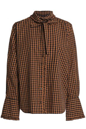 CLAUDIE PIERLOT Pussy-bow gingham cotton-poplin shirt