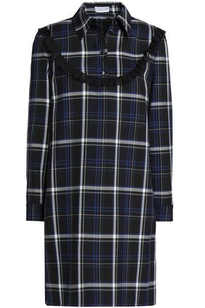 CLAUDIE PIERLOT Lace-trimmed checked twill mini dress