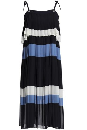 CLAUDIE PIERLOT Layered pleated striped georgette midi dress