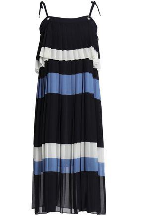 CLAUDIE PIERLOT Layered pleated striped georgette midi dress