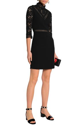 CLAUDIE PIERLOT Paneled corded lace and crepe mini dress