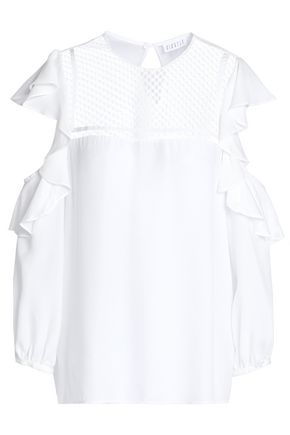 CLAUDIE PIERLOT Cold-shoulder ruffled crepe top