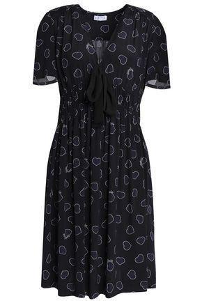 CLAUDIE PIERLOT Bow-embellished printed crepe mini dress