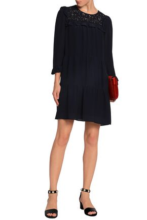 CLAUDIE PIERLOT Corded lace-paneled crepe mini dress