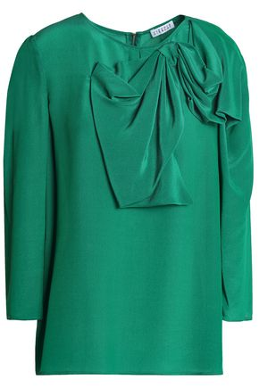 CLAUDIE PIERLOT Bow-embellished satin-crepe blouse