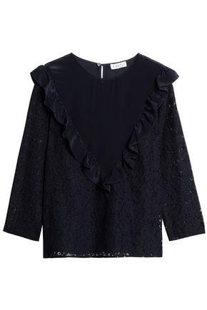 CLAUDIE PIERLOT Ruffled cotton-blend corded lace top