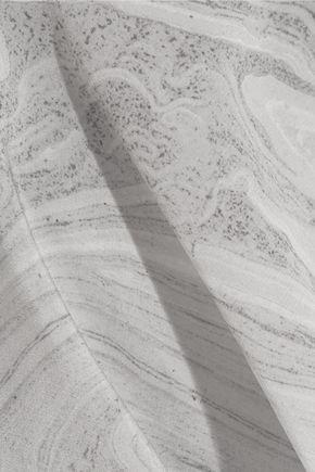 ALEXANDER MCQUEEN Draped printed silk peplum top