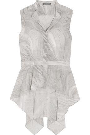 ALEXANDER MCQUEEN Draped printed silk peplum blouse