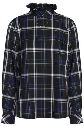 CLAUDIE PIERLOT Ruffle-trimmed checked twill blouse
