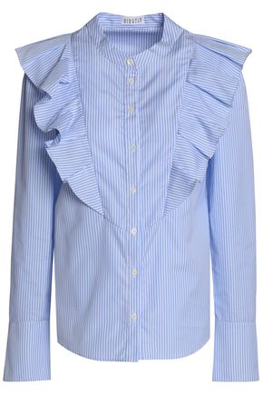 CLAUDIE PIERLOT Ruffled striped cotton-poplin shirt