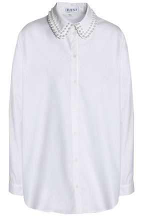 CLAUDIE PIERLOT Faux pearl-embellished cotton shirt