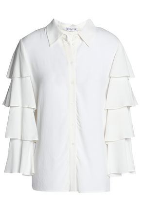 CLAUDIE PIERLOT Tiered paneled crepe and corded lace shirt