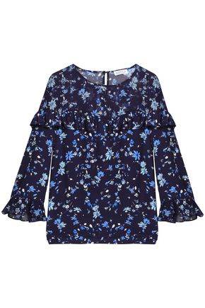 CLAUDIE PIERLOT Ruffle-trimmed printed georgette and crepe blouse