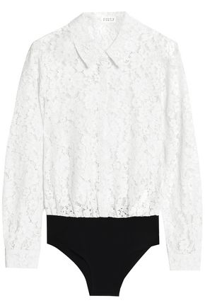 CLAUDIE PIERLOT Cotton-blend corded lace and jersey bodysuit
