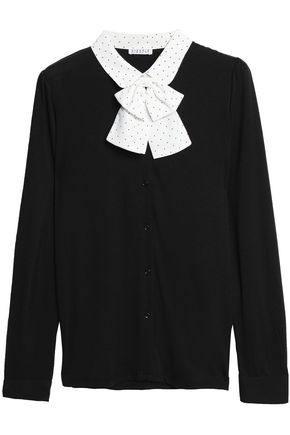 CLAUDIE PIERLOT Pussy-bow jersey cardigan