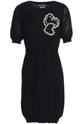 BOUTIQUE MOSCHINO Faux pearl-embellished wool and cotton-blend mini dress