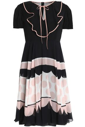 REDValentino Ruffled printed silk-organza silk-georgette dress