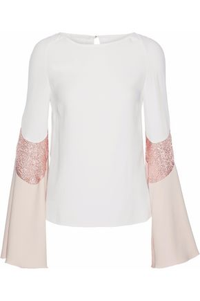 ANTONIO BERARDI Metallic cloqué-paneled color-block cady blouse