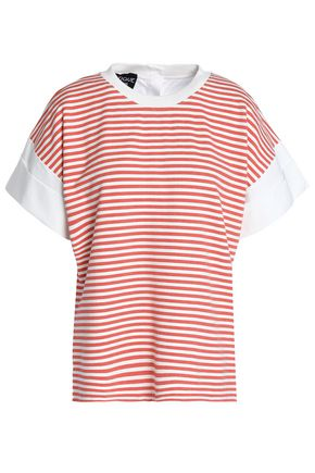 BOUTIQUE MOSCHINO Poplin-paneled striped jersey top