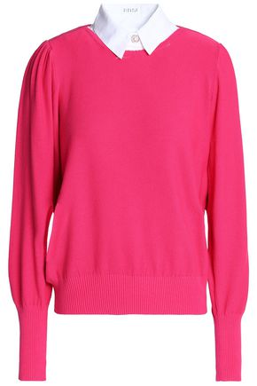 CLAUDIE PIERLOT Paneled cotton-blend sweater