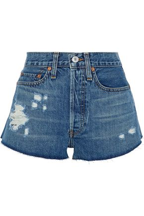 RE/DONE The Short distressed denim shorts