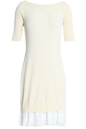 BOUTIQUE MOSCHINO Layered stretch-knit and crepe de chine mini dress
