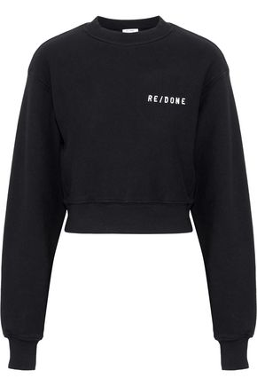 RE/DONE Embroidered French cotton-terry sweatshirt