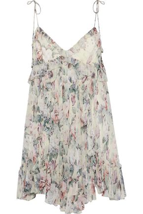 ZIMMERMANN Jasper ruffle-trimmed floral-print silk-georgette mini dress
