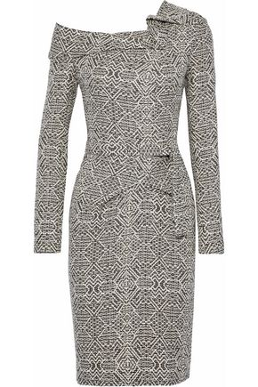 ROLAND MOURET Zindan belted gathered jacquard dress