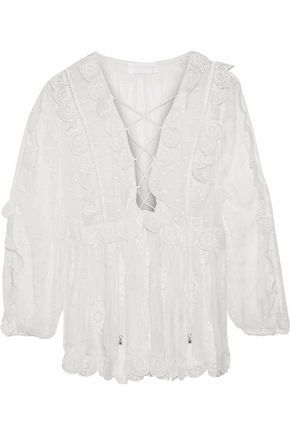 ZIMMERMANN Broderie anglaise-trimmed Swiss-dot silk-georgette blouse