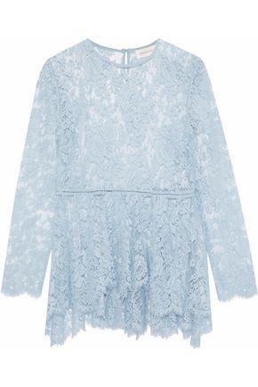 ZIMMERMANN Chantilly lace cotton-blend peplum blouse