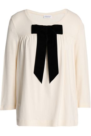 CLAUDIE PIERLOT Bow-embellished cotton-jersey top