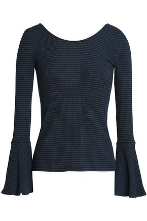 CLAUDIE PIERLOT Tie-back ribbed cotton-blend top
