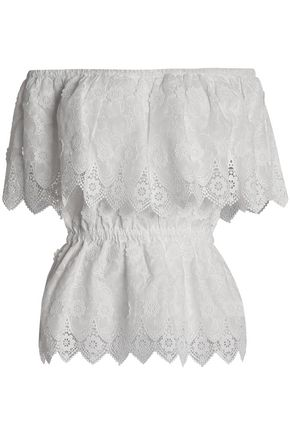PERSEVERANCE Off-the-shoulder embroidered cotton top