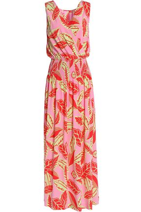 BOUTIQUE MOSCHINO Wrap-effect smocked printed woven maxi dress